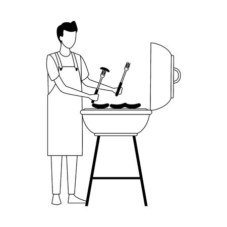 man and bbq grill icon over white background, vector illustration Ilustrace