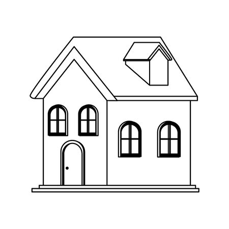 traditional house building icon over white background, vector illustration