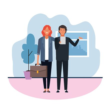 Business woman and man in the office over white background, colorful design. vector illustration