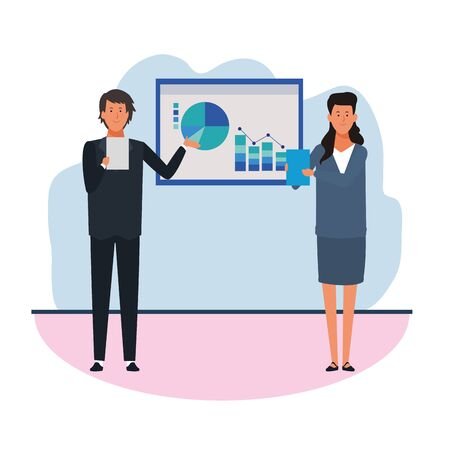 Business man and woman showing graphic charts in the office over white background, colorful design. vector illustration