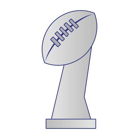 american football sport game champion silver trophy cartoon vector illustration graphic design Stock Illustratie