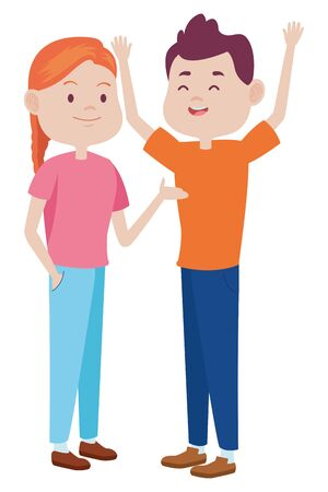 Teenagers friends boy and girl with casual clothes smiling and greeting cartoons ,vector illustration graphic design. Ilustracja