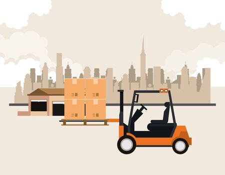 transportation merchandise logistic cargo forklift picking boxes merchancy in urban route cartoon vector illustration graphic design