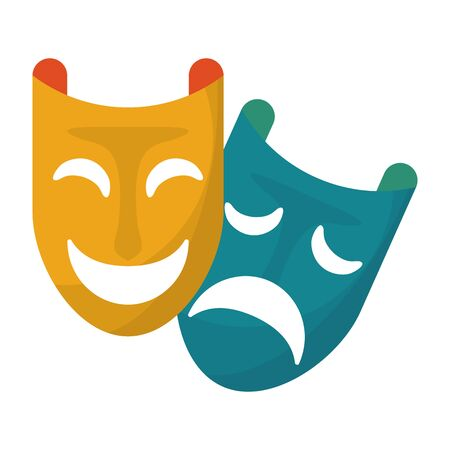 party masks festive carnival costume celebration decoration cartoon vector illustration graphic design Ilustrace