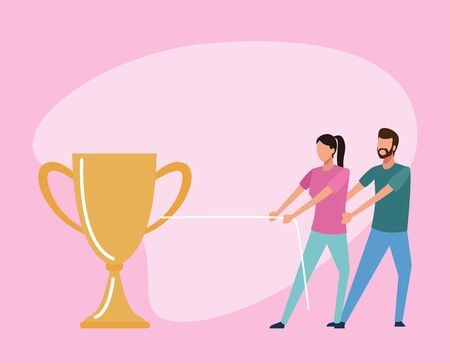 avatar man and woman pulling a big trophy cup over pink background, teamwork concep