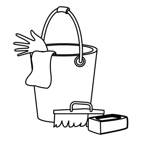 cleaning and hygiene equipment scrum brush, soap bar and cleaning bucket with glove and a cloth in black and white vector illustration graphic design Ilustrace