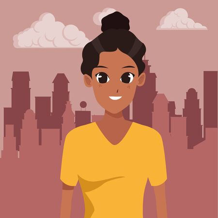 Young woman smiling with sport wear cartoon in the cirty, urban scenery background ,vector illustration graphic design. Foto de archivo - 133907400