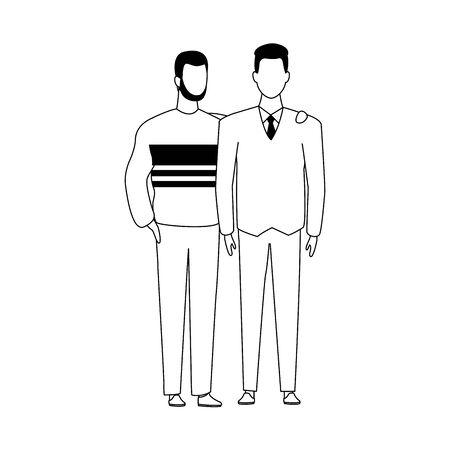 avatar friends men standing icon over white background, flat design. vector illustration