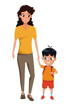 Family single mother with kid son holding school backpack isolated vector illustration graphic design Foto de archivo - 133907564