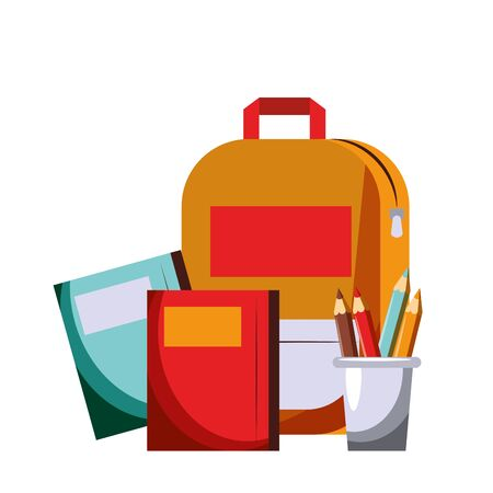 Back to school utensils books backpack and colours pencils cartoons vector ilustration graphic design vector illustration graphic design