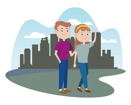 young couple characters in the city vector illustration design Foto de archivo - 133907594
