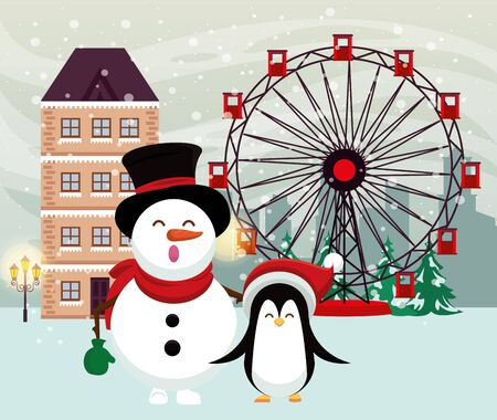 christmas snowscape scene with snowman and penguin vector illustration design