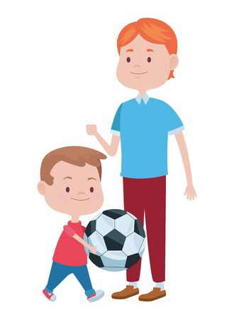 young father with son playing soccer vector illustration design