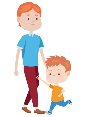 Family single father playing andsmiling with son ,vector illustration graphic design. Foto de archivo - 133907607