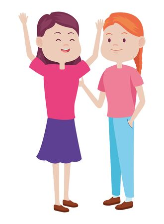 Teenagers women friends greeting and smiling with casual clothes cartoons ,vector illustration graphic design. 일러스트