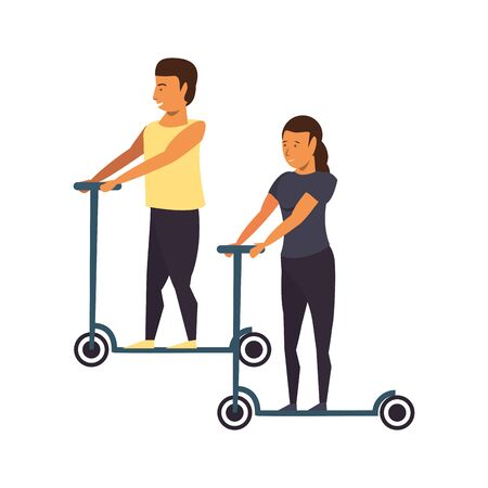fitness couple riding scooter sport cartoons isolated vector illustration graphic design