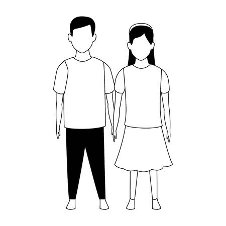 avatar girl and boy icon over white background, vector illustration
