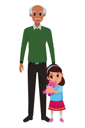 Family grandfather with little granddaughter hugging teddy vector illustration graphic design Foto de archivo - 133907655