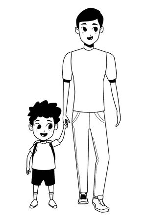 Family single father with kid holding school backpack vector illustration graphic design Foto de archivo - 133907677