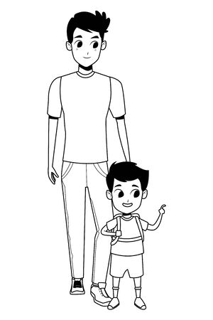 Family single father with kid holding school backpack vector illustration graphic design Foto de archivo - 133907679