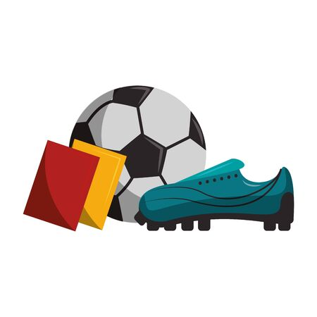 Soccer sport game ball boot and referee cards isolated vector illustration graphic design Stock Illustratie