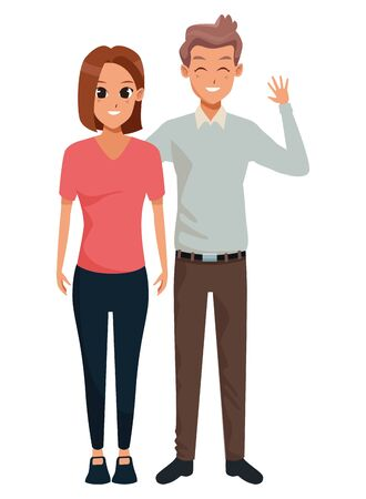 Young executive man and woman couple smiling and greeting cartoon vector illustration graphic design Foto de archivo - 133907682