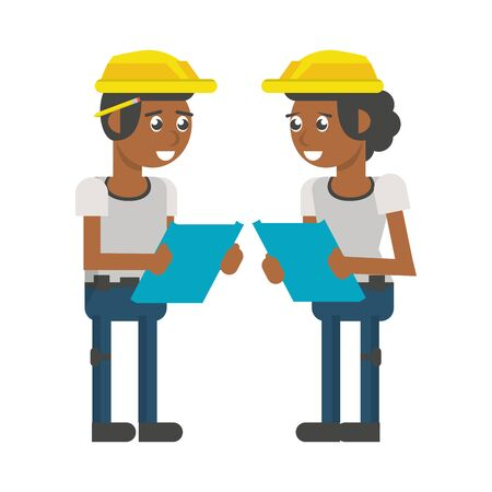 Construction workers checking plans clipboards vector illustration graphic design Illusztráció