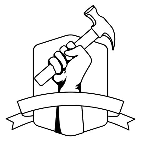 Construction worker hand holding hammer emblem with blank ribbon banner vector illustration graphic design.