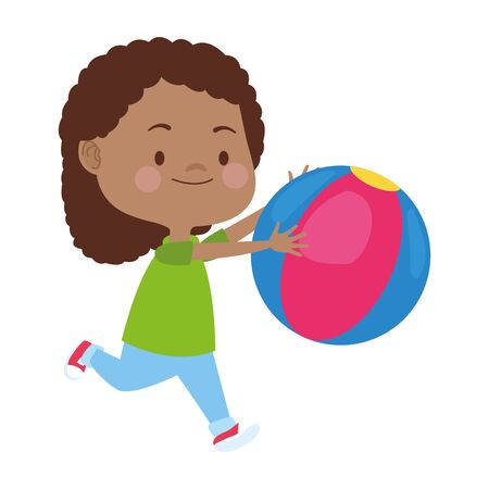 cartoon girl playing with a ball over white background, vector illustration Foto de archivo - 133907697