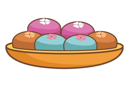 Mooncakes in bowl mid autumn food cartoon isolated ,vector illustration graphic design.