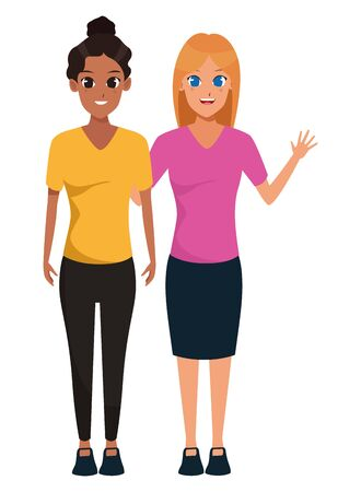 YOUNG women friends smiling with casual clothes cartoon vector illustration graphic design Foto de archivo - 133907776