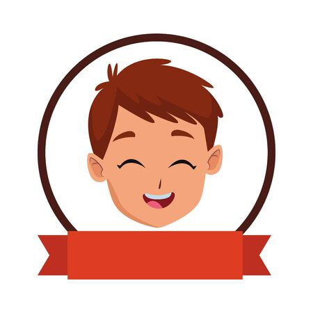 child smiling and happy portrait on round frame icon with blank ribbon banner vector illustration graphic design