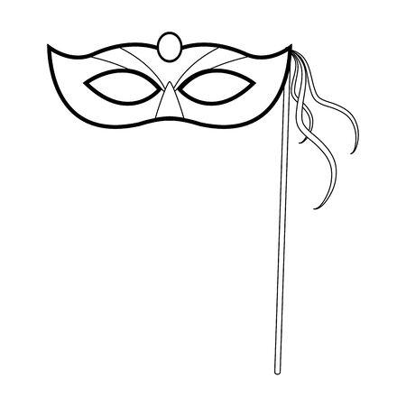 Design of mardi gras mask on stick icon over white background, vector illustration