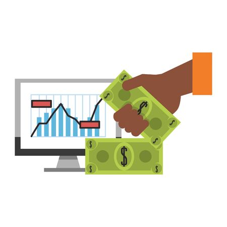 Online stock market investment computer with stastics and hand with cash symbols vector illustration 일러스트
