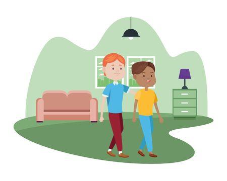 young couple characters in the livingroom vector illustration design Foto de archivo - 133907871