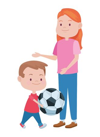 cute mother and son playing soccer vector illustration design