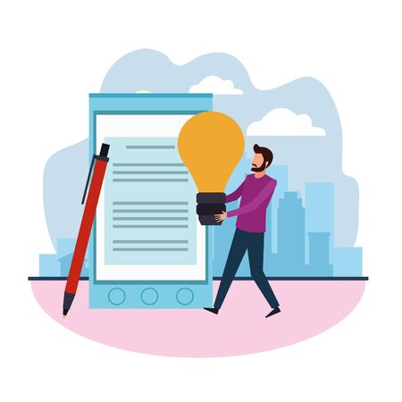 big smartphone and pen and avatar man holding a light bulb over white background, colorful design , vector illustration Illusztráció
