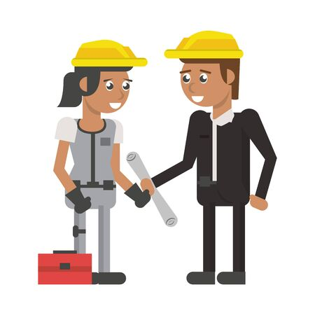 Construction worker and architect with plans and toolbox cartoon