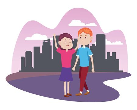 young couple characters in the city vector illustration design Foto de archivo - 133907931