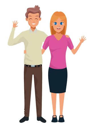 Young executive man and woman couple smiling and greeting cartoon vector illustration graphic design Foto de archivo - 133907939