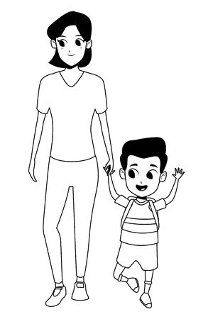 Family single mother with kid son holding school backpack isolated vector illustration graphic design Foto de archivo - 133907968