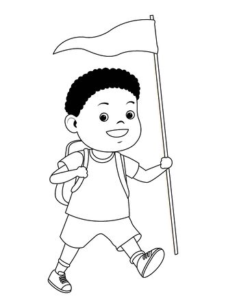 Happy boy with camping backpack and flag ready to summer camp ,vector illustration graphic design.