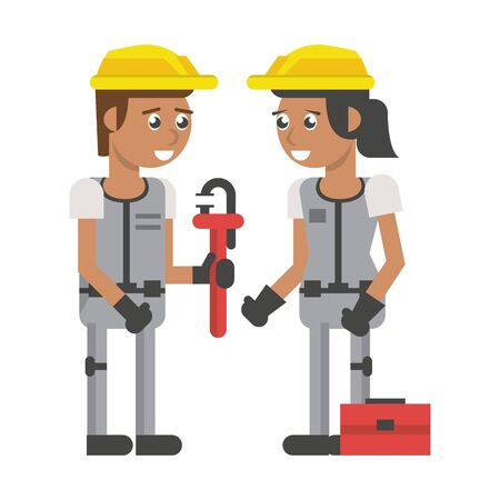 Construction workers with wrench and toolbox vector illustration graphic design Illusztráció