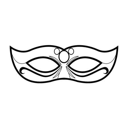 Mardi gras mask icon over white background, vector illustration