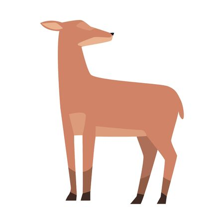 cartoon deer icon over white background, colorful design. vector illustration 일러스트