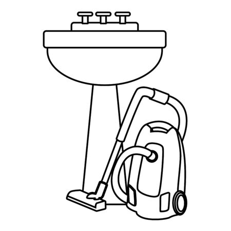 cleaning and hygiene equipment vacuum cleaner next to a handwashing in black and white vector illustration graphic design