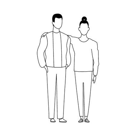 avatar couple icon over white background, black and white design. vector illustration