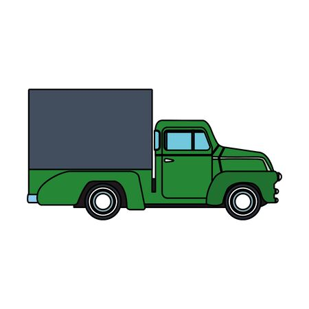 pickup truck with load icon over white background, vector illustration