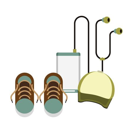 accessories for summer days symbols and cap sneakers with music player isolated Vector design illustration