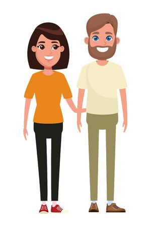 couple avatar man with beard and woman with short hair profile picture cartoon character portrait vector illustration graphic design Foto de archivo - 133908006